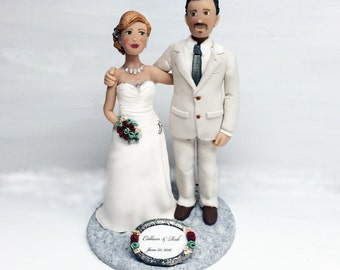 Custom Wedding Cake Toppers of Bride and Groom from Your Ideas and Photos