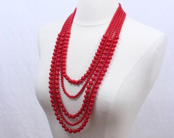 Red Statement Necklace Multi Strand Statement Necklace Layered Beads Statement Necklace Long Beaded Necklace Five Strand Necklace