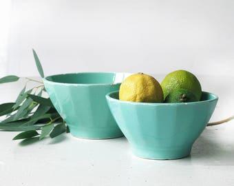 set of 2 french large ceramic cafe au lait bowl ,turquoise and light blue french crockery