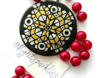 polymer clay brooch, tribal ethnic brooch, pattern brooch, handmade art brooch, clay art brooch, handmade wearable art jewelry