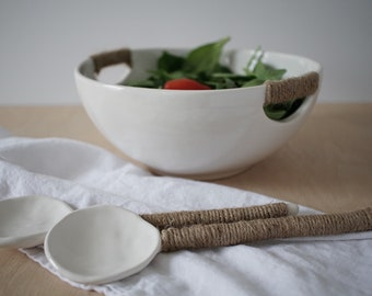 Woven Long Ceramic Spoons Stoneware MADE TO ORDER