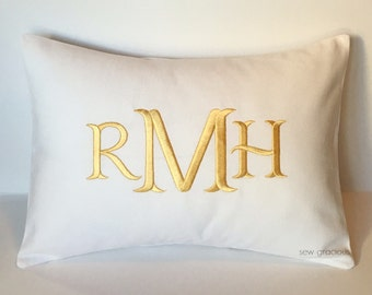Custom Monogram Pillow Cover made to fit a 12 x 16 Decorative Throw Pillow. Wedding Anniversary Gift.  Farmhouse Decor.