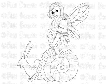 Digital Stamp - Printable Coloring Page - Fantasy - Fairy Stamp - Adult Coloring Page - Shelby Version 2 - by Nikki Burnette - PERSONAL USE