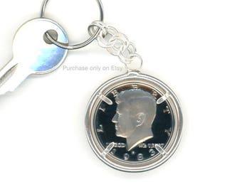 35th Birthday 1983 Half Dollar Keychain 35th Anniversary Gift Sterling Silver Chain 1983 Kennedy Half Dollar Keychain