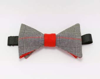 """Red bow tie red prince of Wales """"Tesseract"""" fabric"""