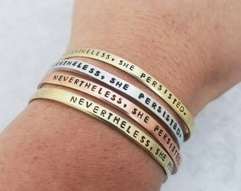 Nevertheless She Persisted Skinny Cuff Bracelet - Elizabeth Warren Jewelry - Feminist Gift