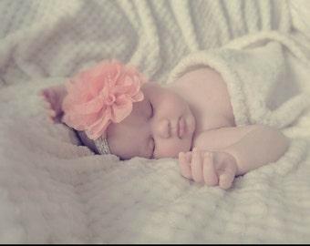 Peach Chiffon and Lace Headband, Baby Headbands, Baby Girl Headbands, Baby Headband, Infant Headbands, Newborn Headbands, Baby Bow,