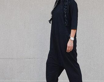 Black jumpsuit, harem jumpsuit, plus size jumpsuit, black romper, loose romper, plus size romper, black overall, women's jumpsuit, romper