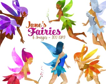 Watercolor Fairies Clipart - Fantasy Items Download - Instant Download - Watercolor Whimsical Female Fairies