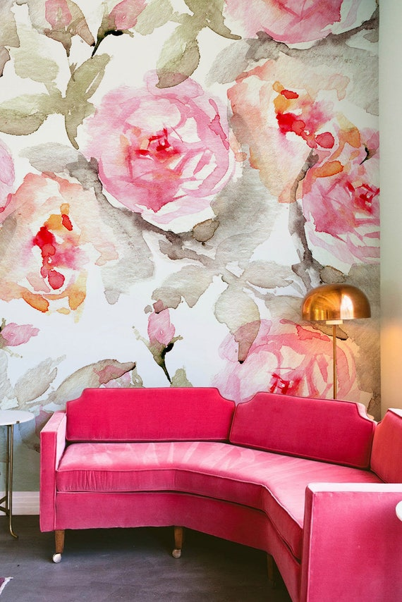 Large floral pattern wallpaper flower wallpaper wall mural floral home décor floral decorations floral wall decal removable paper b005