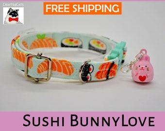 Breakaway cat collar, sushi cat collar, kitten collar, cat collar with bell, mint cat collar,blue,silver,Crafts4Cats