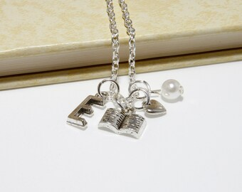 Personalized Book Lovers Necklace with Your Initial and Birthstone