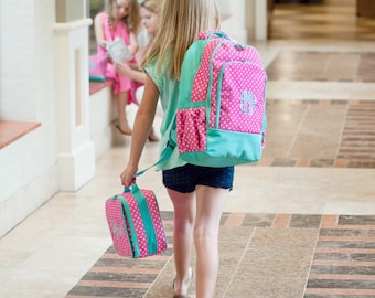 Backpack & Lunch Bag Combo Set - Dottie- Includes Embroidery Personalization - Dot Backpack Combo - Back to School Combo - Back to School