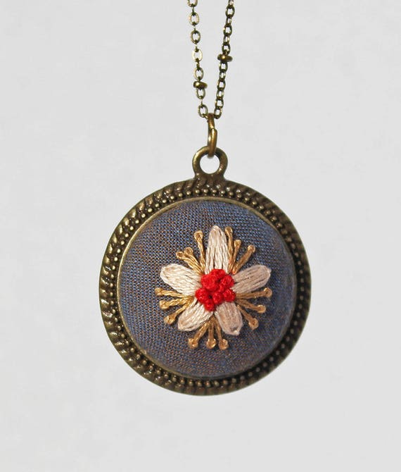 Embroidered Flower Pendant / Floral Stitched Necklace / Blue & Red Necklace / Gift For Her