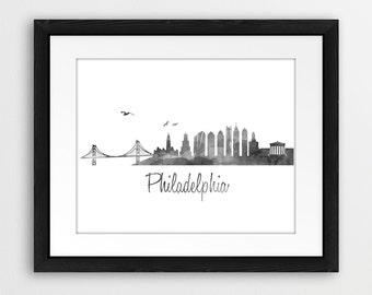 Philadelphia Skyline Watercolor Art Print - Color & BW