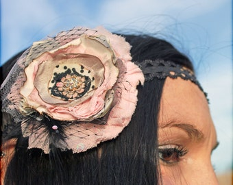 Shabby Chic Headband, Ivory, light pink headband, Baby Pink, Black, Cream Vintage Hair Accessories, Fabric Flower Headband, Hair Clip, Baby