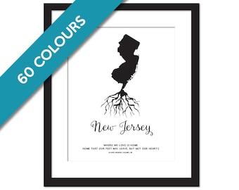 New Jersey Roots - State Map Art Print - New Jersey Map - Geography - New Jersey Art Print - New Jersey Poster - Custom State Map Art Print
