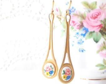 Vintage Limoges Floral Rose Earrings - Long Dangle Earrings - Flower Cameo Earrings - Garden Wedding - Long Brass Earrings