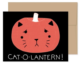 Cat-o-lantern Halloween Card, Cat Card, Cat Pumpkin Card, Cat-o-lantern Card, Cute Halloween Card, Pumpkin Greeting Card, Boo Card