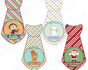 Babies First Holidays Stickers Boy Ties