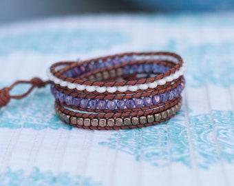 Purple & Bronze Wrap Bracelet