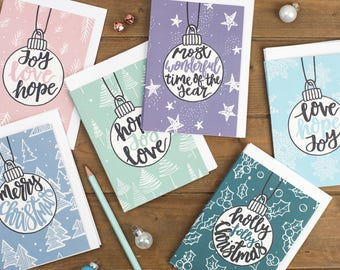 Izzy & Pop Christmas Card Collection - Christmas Card Set - Brush-lettered Christmas Cards - Christian Cards - Christian Gifts UK