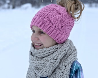 Crochet Pattern: Big Bold Cabled Ponytail / Messy Bun, Beanie & Slouch, Sizes Toddler, Child, Teen, Adult Small, Adult Medium / Large