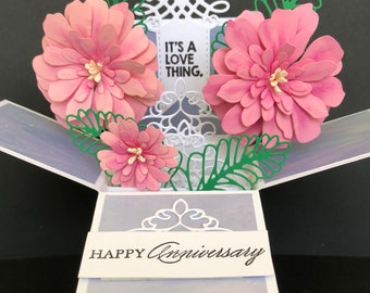 Anniversary card, anniversary pop up card, anniversary pop up box card, flower anniversary card for her, 3d anniversary card, explosion box