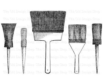 Paint Brush Clip Art Illustration Printable Paintbrushes Digital Graphic Iron On Transfer Image PNG JPG