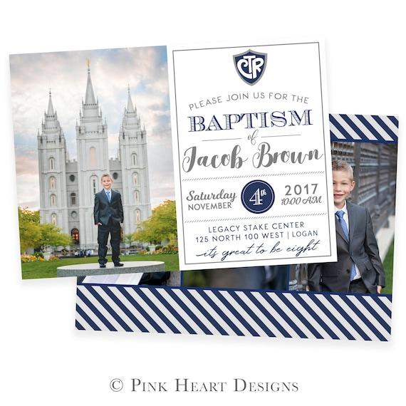 LDS Baptism Invitation - Baptism Invitation - Boy Baptism Invitation ...