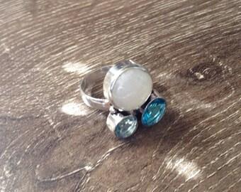 Handmade Silver Rainbow Moonstone, Blue Quartz & Blue Topaz Ring