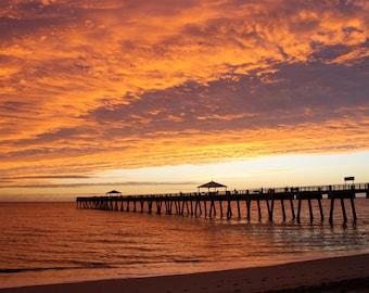 Beach Photography - Digital Download to DIY Print - Sunrise at Juno Beach Pier, Florida - Coastal Decor, Ocean Photography, Wall Art Poster