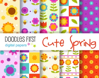 Cute Spring Flowers Digital Paper Pack Includes 10 for Scrapbooking Paper Crafts
