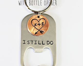 BOTTLE OPENER keychain. Gift for him. Anniversary gift. U.S. PENNY. Personalized Keychain.Penny Keychain. Couples Gift. Graduation gift