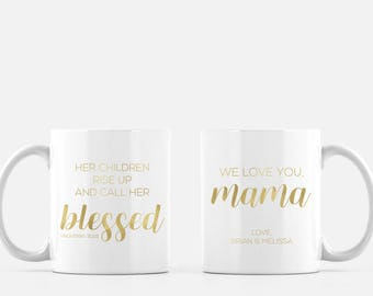 CUSTOM Personalized GOLD FOIL Proverbs 31:28 Coffee Mug for Mothers, Grandmothers
