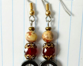 natural stone, hematite, agate, carnelian earrings