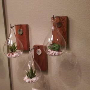Set Of Wall Mounted Hanging Teardrop Plant Vases