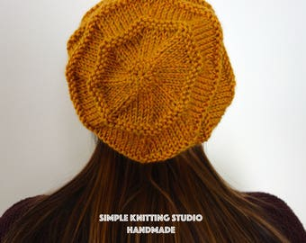 Fashionable Slouchy Hat    Knit Hat, Beanie Hat, Slouchy Beanie  (Color: Autumn Yellow / Sandstone)
