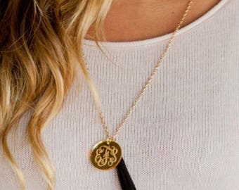 Monogrammed Tassel Circle Disc Necklace - Monogram Necklace - Monogrammed Necklace - Monogrammed Tassel Necklace - Monogrammed Disc Necklace