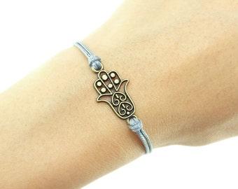 Hamsa Hand Bracelet, Dark Gray Cord Bracelet, Hand of Fatima Bracelet, Friendship Bracelet