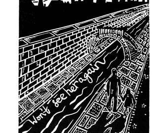 Down by the Water (Original Linocut print)
