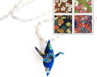 Origami Crane Necklace Small Flowers Paper Choices Peace Crane Necklace
