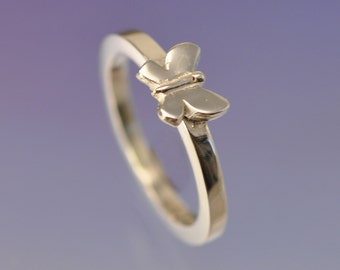 Small Butterfly Ring. Stacking Ring Silver