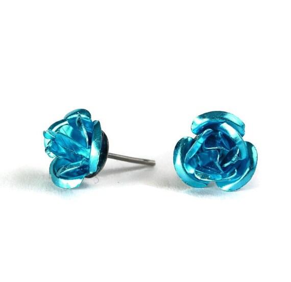 Sale Clearance 20% OFF - Blue rosebud hypoallergenic studs earrings (225)