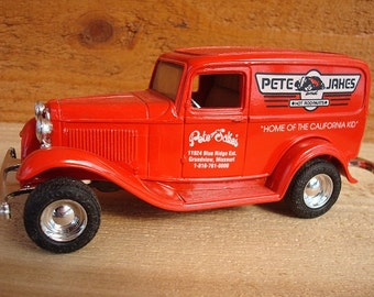 1932 Ford Delivery Van Hot Rod Replica Diecast Keyed Coin Bank with Original Box