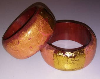Two Lovely Vintage Chunky Bangles Gold Leaf and Vibrant Colors