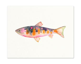 Watercolor Trout Print.  Angler Wall Art. Gift For Dad. Man Office Wall Art. Fishing / Fish Art. Fish Painting. Lake House Gallery Wall Art.