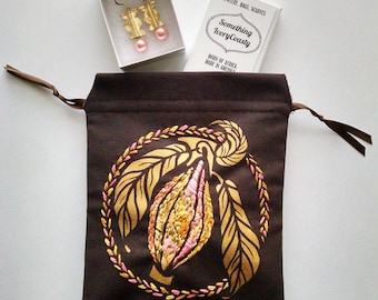 Embroidered Pink and Gold Cacao Drawstring Bag