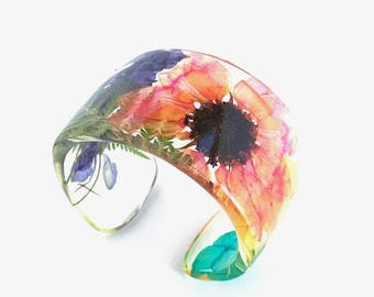 Eco Resin Cuff.  Resin Bracelet with Everything!  Botanical Resin Jewelry Size Large XL