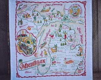 Michigan Towel | Michigan Kitchen Towel | Michigan Tea Towel | Michigan Flour Sack Towel | Vintage Michigan Towel | Christmas Gift | Gift